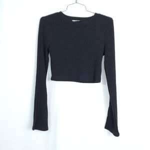 Audrey 3+1 Bell Sleeve Slit Ribbed Crop Sweater
